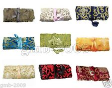 SILK JEWELRY TRAVEL BAG Roll Case Pouch Carrying Silk Brocade Fabric Rich Flower