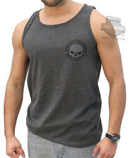 Harley-Davidson Mens Willie G Skull Circle Charcoal Sleeveless Tank