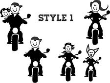 MOTORCYCLE STICK FIGURE FAMILY REAR CAR WINDOW DECAL.
