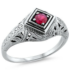 GENUINE RUBY ANTIQUE DECO STYLE .925 STERLING SILVER FILIGREE RING,         #186