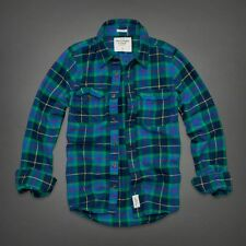 NWT Abercrombie A&F Plaid Flannel Shirt M XL Button Down Green Blue NEW