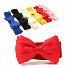 Vogue Women Bowknot Elastic Bow Wide Stretch Buckle Waistband Waist Belt Hot