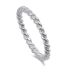 Sterling Silver Rope Chain Design Eternity Band Ring .925 New Sizes 4-10