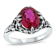 RED LAB RUBY ANTIQUE ART DECO STYLE .925 STERLING SILVER FILIGREE RING,     #449