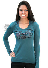 Harley-Davidson Ladies Harley Wings Hooded Teal Long Sleeve T-Shirt