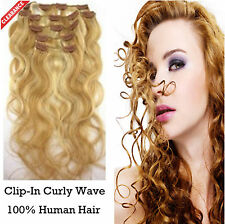 Discount! Curly Wave Clip-In 100% Human Hair Extensions Hairpiece 10pcs/100g
