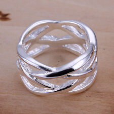 Fashion 925Sterling Silver Jewelry Wide Fishnet Women Men Ring  #6-#10 GR010