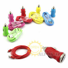 Mini Car Charger+2M/6FT Micro USB Data Sync Charger Cable f. Galaxy S4 S3 HTC LG