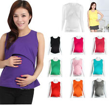 Pregnant Maternity Clothes Nursing Tops Breastfeeding Vest T-Shirt Nice