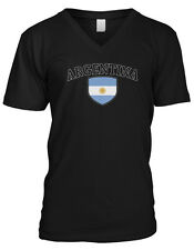 Argentina Flag Crest  Argentinian National Country Pride Mens V-neck T-shirt