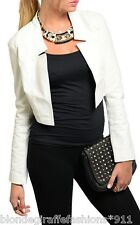 Ivory Cropped Pleather/Faux Leather & Jersey Bolero Jacket Arden B XS/S/M/L