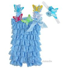 New Cinderella Butterfly Cornflower Blue Lace Petti Rompers Headband Costume