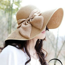 Summer Women Large Floppy Folderable Straw Bow Beach Sun Hat Cloche Cap