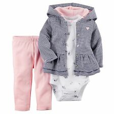 Carters Newborn 3 6 9 12 Months Cardigan Pants Set Baby Girl Clothes Cotton