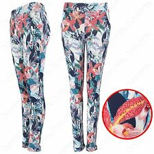 NEW LADIES FLOWER PRINT STRETCH MID WAIST TROUSERS TURN UP WOMENS LONG LEGGINGS
