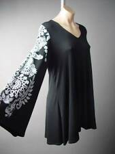 Black Vtg-y Boho Floral Design Bell Sleeve Plus Top Blouse 125 mv Tunic 1X 2X 3X