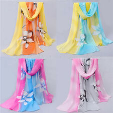 Women Girls Chiffon FLoral Long Soft Neck Scarf Shawl Scarves Stole Wraps New
