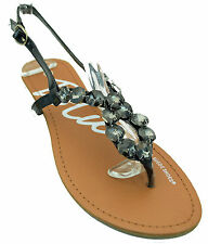 Crystal Beaded Jeweled Gladiator Low Wedge Slingback Sandals Black Silver White