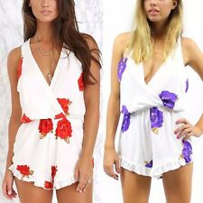 New Womens Ladies Red/Purple Floral Print Sexy V-Neck Celeb Jumpsuits Rompers