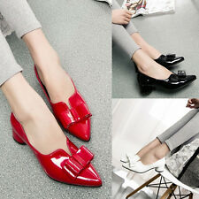Womens Low Heels Pumps Bowknot Pointed Toe Office Lady Work Patent Leather Shoes