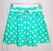 New HAE Women Pleated Mini Skirt Green Polka Dots Belted Size M L Cotton Blend