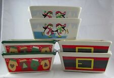 MINI CERAMIC BREAD LOAF PANS CHRISTMAS SANTA PENGUINS MITTENS BAKEWARE SET 2 NWT