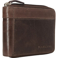 Mancini Leather Goods Men's Zippered Wallet with Mens Wallet NEW