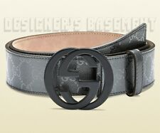 GUCCI pewter GG IMPRIME Leather plastic INTERLOCKING G buckle belt NWT Authentic