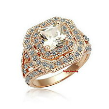 18k Rose Gold Plated Filigree Swarovski Crystal Square Wedding Cocktail Ring R53