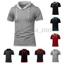 SUMMER Men Slim Fit Casual Hoodie Short Sleeve Muscle T Shirt Sweatshirt Top Tee
