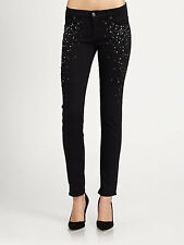 7 For All Mankind Womens 24 25 Black Slim Cigarette Jeans Crystals Studs Pants