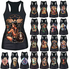 Women Graphic Print Tank Top Vest Gothic Punk Party Sleeveless Singlet T-Shirt