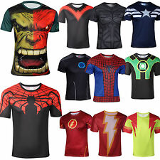 Men Marvel Superhero Comics Costume The Avengers T-Shirt Sports Cycling Tops Tee