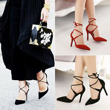 Fashion Women Pointed Toe Strappy Stiletto High Heels Prom Party Shoes