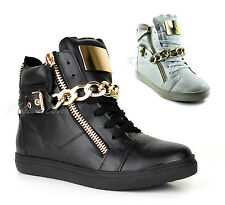 Ladies Womens Gold Chain Plate Hi High Top Platform Sneakers Trainers Shoes Size