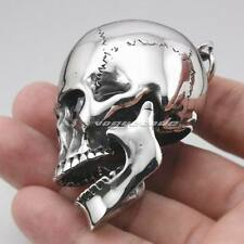 Huge Heavy 316L Stainless Steel Skull Mens Biker Punk Pendant Openable 4S020A