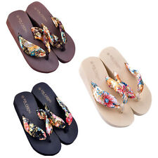 Bohemia Floral Summer Beach Sandals Wedge Platform Thongs Slippers Flip Flops