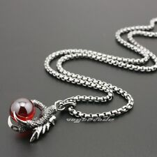 Dragon Claw & Dragon Ball 316L Stainless Steel Mens Pendant Necklace 4S021A
