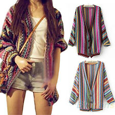 Glamorous Women's Colorful Ethnic Style Wave Stripe Knit Blouse Sweater Cardigan