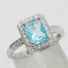 FABULUOS 1.5 CT EMERALD CUT AQUAMARINE  925 STERLING SILVER RING SIZE 5-10