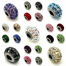 Swarovski European Fit Bracelet Charms Stainless BeCharmed Pave Square Crystal