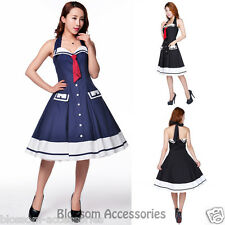 RK103 Rockabilly Sailor Retro Nautical Costume Dress Pin Up Vintage 50s Swing
