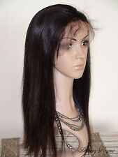 "18"" Long Classic Silky Straight Indian Remy Human Hair Swiss Lace Front Wigs"