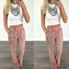 Womens Floral Flare Wide Leg Pants Boho Palazzo Bell Bottom Casual Long Trousers
