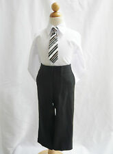 Adorable White boy long sleeve formal dress shirt with matching tie all sizes