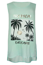 """New Ladies Ex """"Evans"""" Mint Green Palm Print Dipped Plus Size Tunic Top"""
