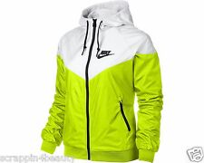 545908-702 New w tag Nike Women Windrunner white and volt hooded Jacket