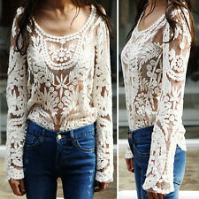 Ladies Semi Sheer Blouse Floral Lace Sleeve Women Shirt Embroidery Crochet Tops