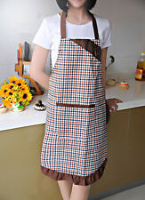 Vintage Style Gingham Butterfly Bow Pocket Pinafore Apron Purple/Brown/Red