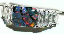 Men's 10x8mm Mosaic Opal & Topaz Stainless Steel Ring  #126 October Stone